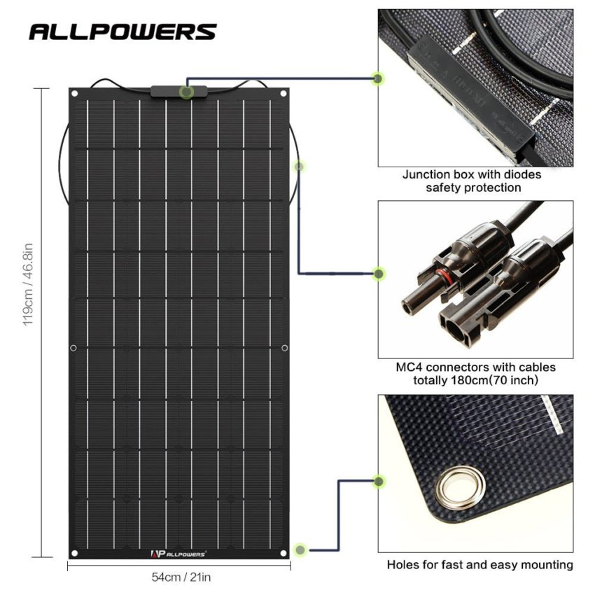ALLPOWERS 100W 18V 12V Flexible Solar Panel