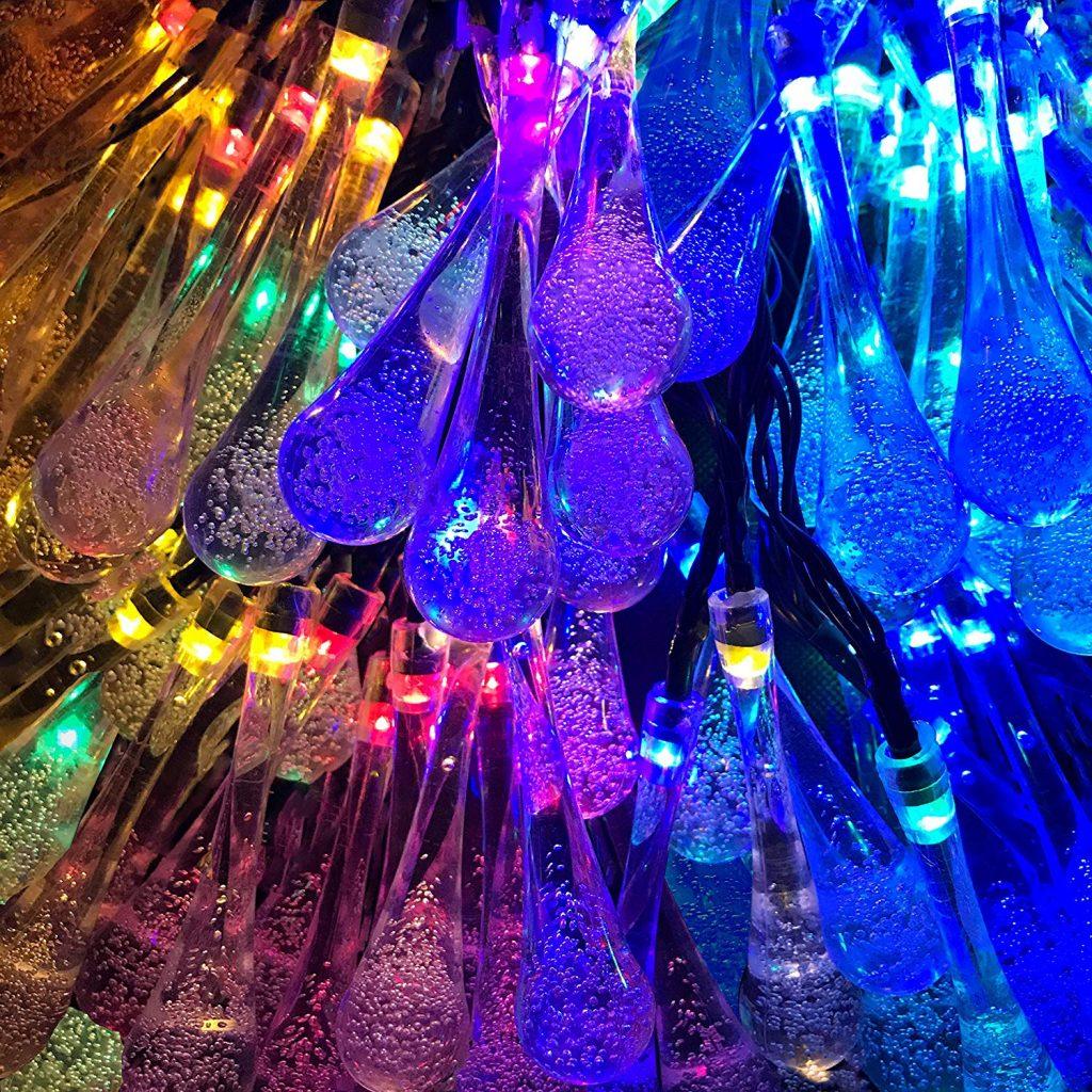Lemontec Solar String Lights 20 Feet 30 LED Water Drop