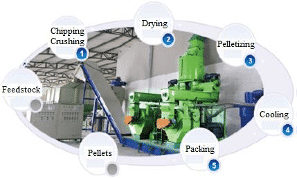 Wood pellets production process