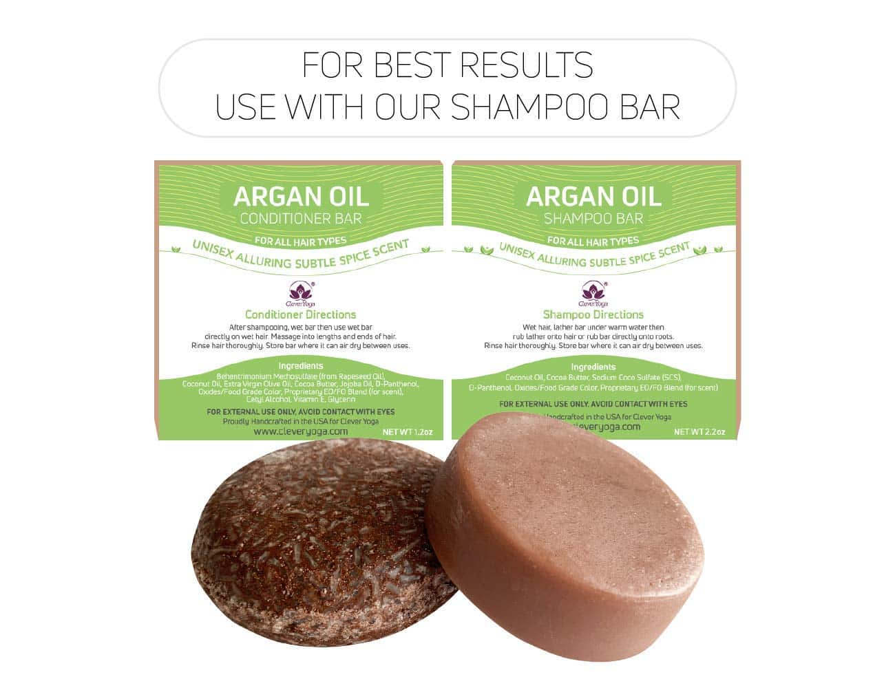 Conditioner Bar for All Hair Types - Perfect Travel Bar Conditioner for Hair - Vegan Solid Conditioner Bar for Lush Full and Frizz Free Hair by Clever Yoga (Fresh Citrus 1bar)