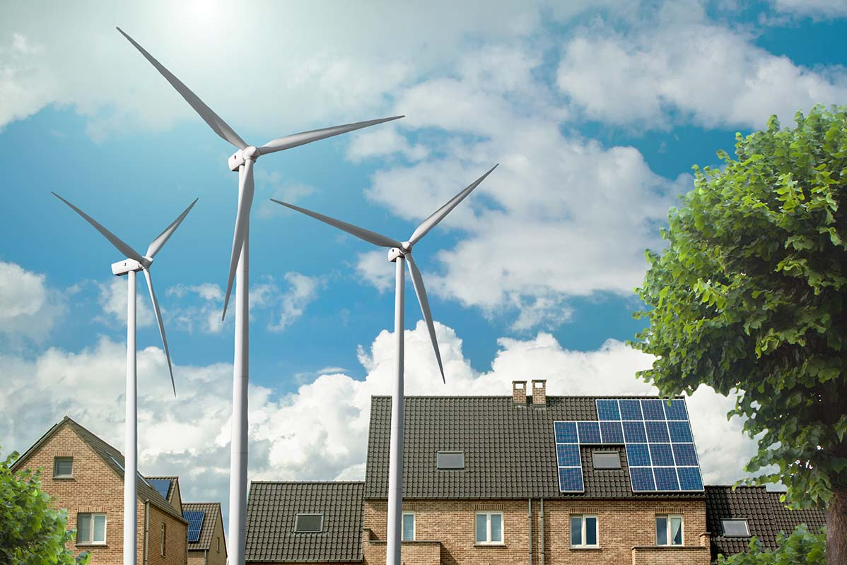 a house with solar vs wind energy source