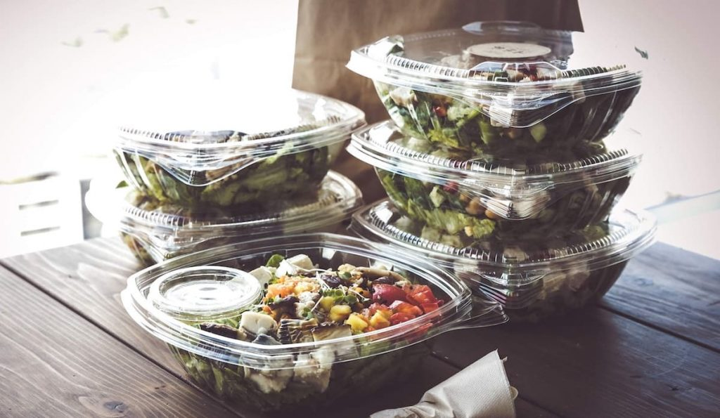 food packaged in plastic containers