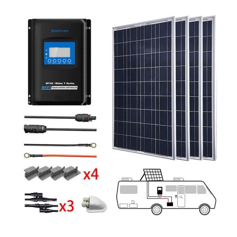Acopower 400W 12V Poly Solar RV Kits