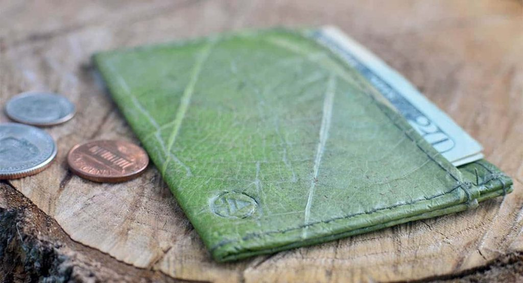 a wallet made of leaf leather