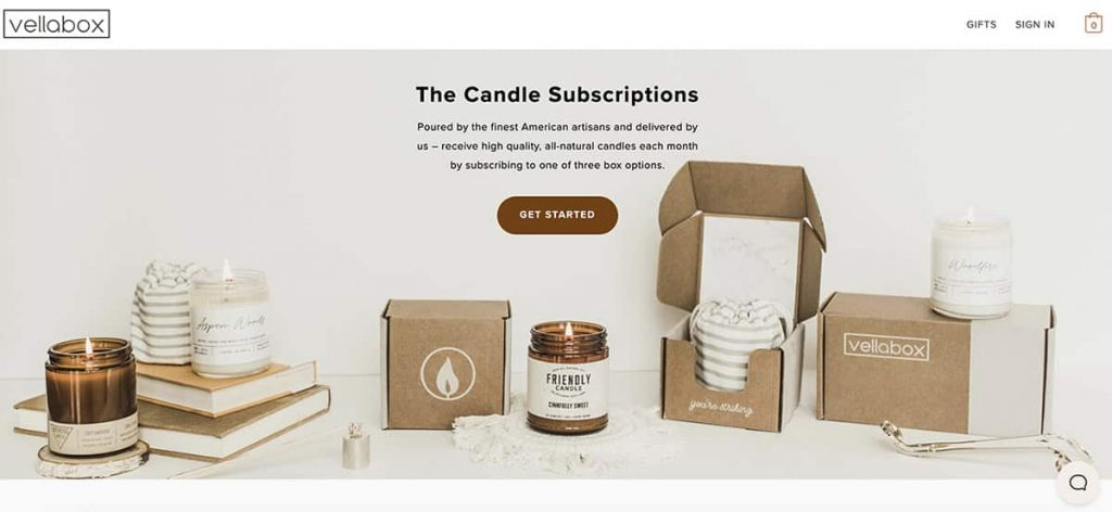 Vellabox candles home page
