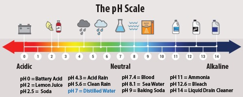 the pH scale from 0 to 14