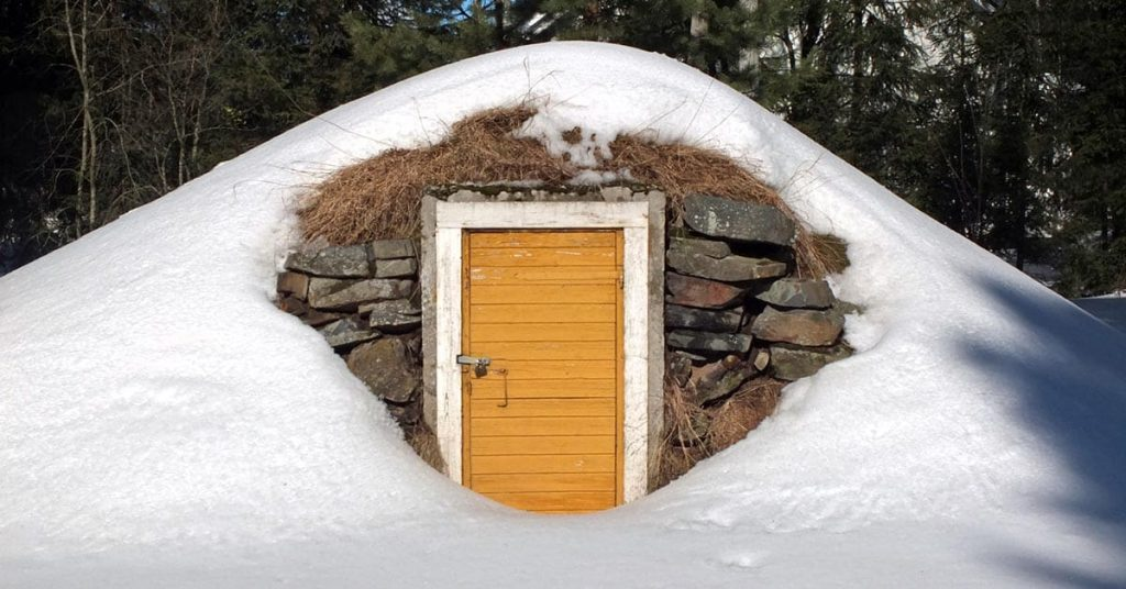 Root cellar entrance in winter
