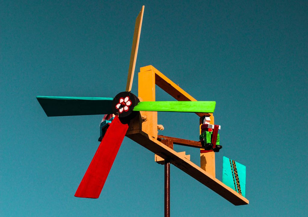 colorful garden windmill
