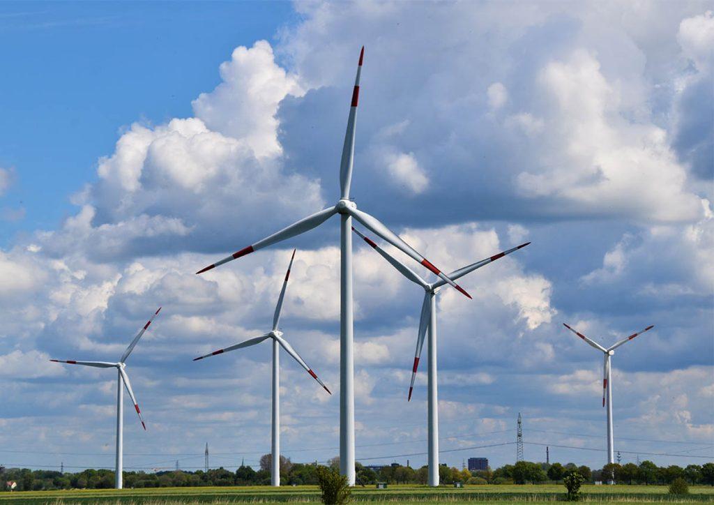 industrial-size wind turbines