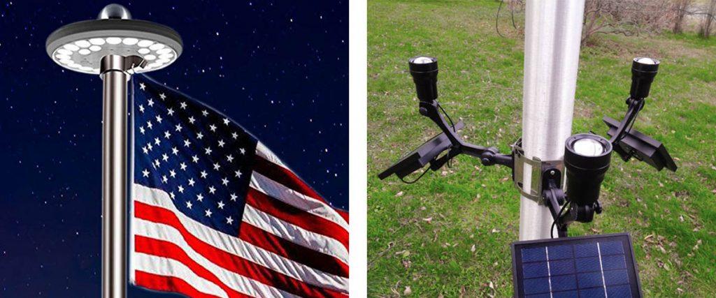 UFO shaped and U-brackets flagpole lights designs